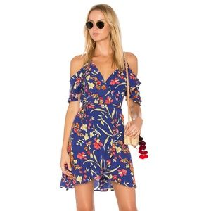 Delta Wrap Dress in Floral Print Blue